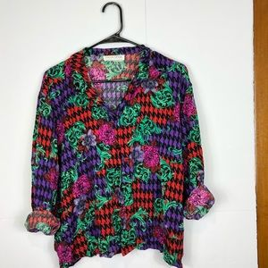 Tops - Vintage funky floral houndstooth blouse Sz L